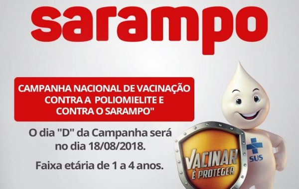 Dia D da vacina contra o sarampo é neste sábado (18)